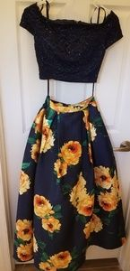 Navy with yellow flowers prom dress